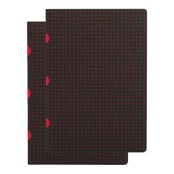 Paper-Oh Cahier Circulo Black on Red / Black on Red A5 kockás