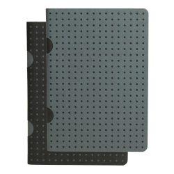 Paper-Oh Cahier Circulo Black on Grey / Grey on Black B7 kockás